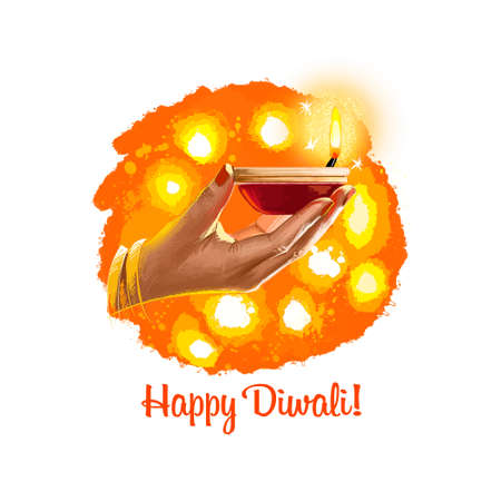 Foto de Happy Diwali digital art illustration isolated on white background. Indian festival of lights. Deepavali hand drawn graphic clip art drawing for web, print. Woman holding burning oil lamp in hand - Imagen libre de derechos