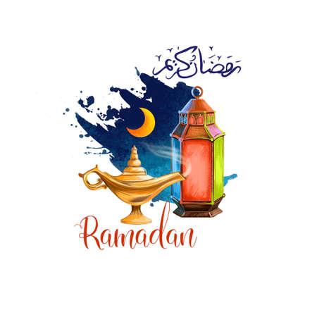 Foto de Ramadan Kareem holiday greeting card design. Symbols of Ramadan Mubarak: Ramadan Lantern, Crescent, Lamp, Arabic calligraphy. Digital art illustration with paint splash background. Graphic clip art - Imagen libre de derechos