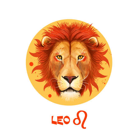 Photo for Creative digital illustration of astrological sign Leo. Fifth of twelve signs in zodiac. Horoscope fire element. Logo sign with lion head. Graphic design clip art for web and print. Add any text - Royalty Free Image