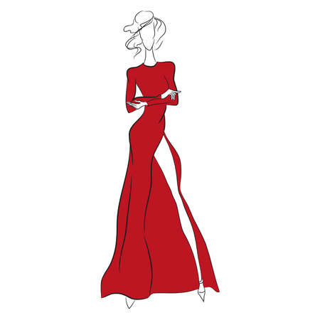 Illustration for Vector fashion sketch. Beautiful model standing in long gorgeous red dress with high cut, long sleeves. Skinny body silhouette isolated on white background, high heels. Haute couture fashion show - Royalty Free Image