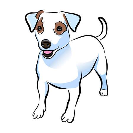 Foto de A Vector closeup portrait of cute Jack russel terrier breed puppy isolated on white background. Short Hair small-sized little terrier dog. Hand drawn sweet home pet. Greeting card design. Clip art - Imagen libre de derechos