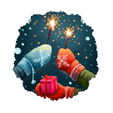 Photo pour Digital art illustration of hands in mittens holding sparklers, gift box present. Merry Christmas, Happy New Year greeting card design. Winter nature, snowing background. Graphic design for web, print - image libre de droit