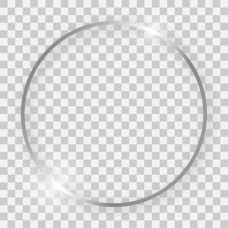 Ilustración de Silver shiny round frame with glowing effects and shadows on transparent background. Vector illustration - Imagen libre de derechos