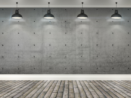 Photo for 3d gray concrete wall  room with ceiling lamp - Royalty Free Image