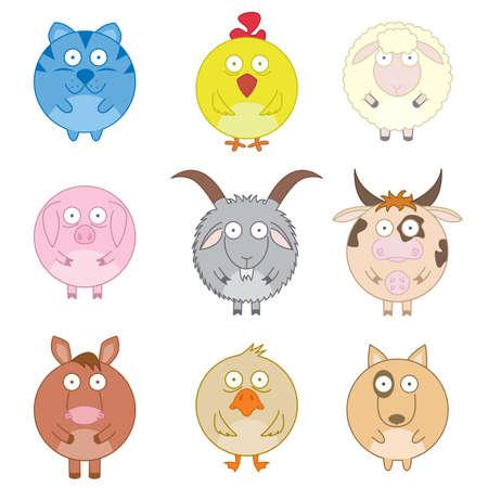 Icon set of cute fun farm animals