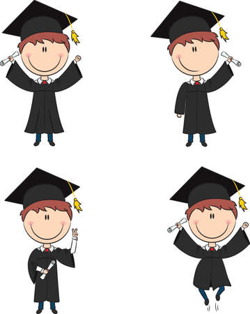 Graduation Cartoon Boy In Different Poses