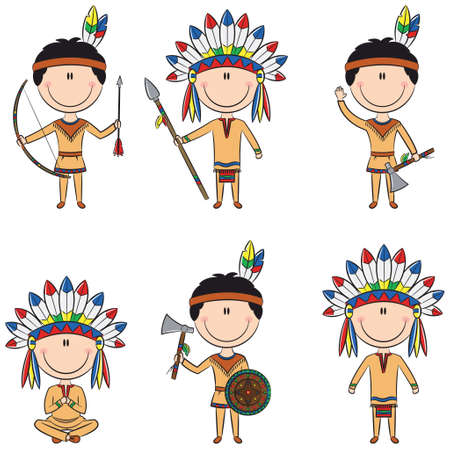 Illustration for Smart boys in Indians costumes - Royalty Free Image
