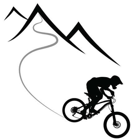 Ilustración de Bike race on a mountain slope -- silhouette, vector - Imagen libre de derechos