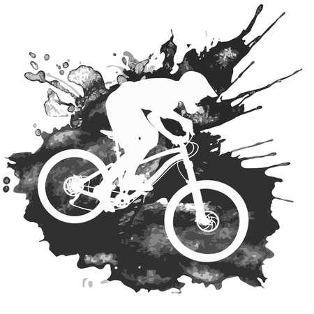 Illustrazione per Silhouette of a biker descending on a mountain bike on a slope - vector illustration - Immagini Royalty Free