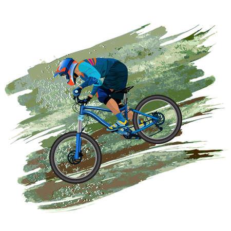 Illustration pour An image of a cyclist descending on a mountain bike on a slope - vector - image libre de droit