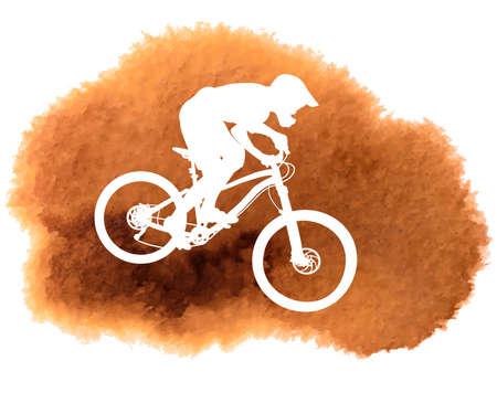 Illustration pour Silhouette of a biker descending on a mountain bike on a slope - vector illustration - image libre de droit