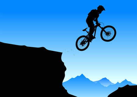 Illustrazione per Silhouette of a jumping cyclist on an abstract mountain background. - vector - Immagini Royalty Free