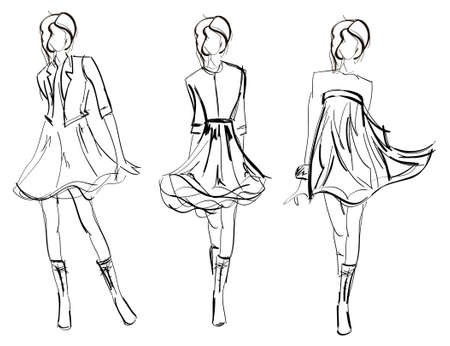 Photo pour SKETCH. fashion girls - image libre de droit