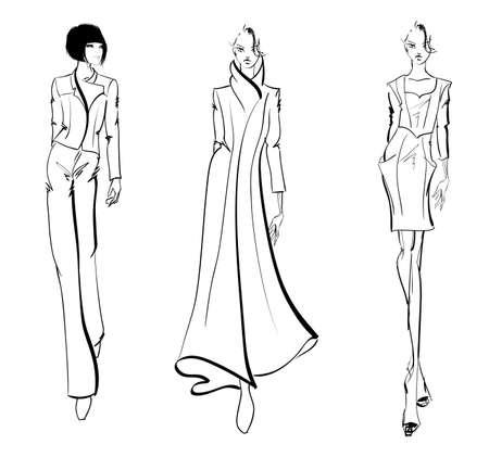 Ilustración de SKETCH. fashion girls - Imagen libre de derechos