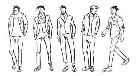 Illustrazione per Fashion man. Set of fashionable men's sketches on a white background. Spring men. - Immagini Royalty Free