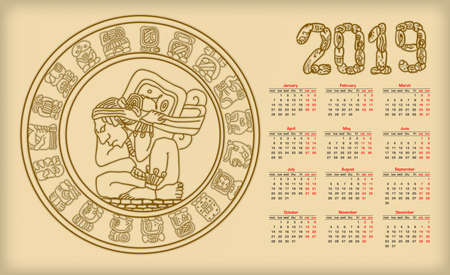 Illustration for Calendar 2019 with maya symbolics - Royalty Free Image