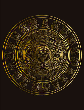 Illustration for Maya calendar of Mayan or Aztec vector hieroglyph signs and symbols. Golden symbol of maya. - Royalty Free Image