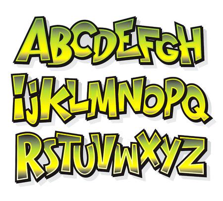 Illustration for Cartoon comic doodle font alphabet  Vector - Royalty Free Image