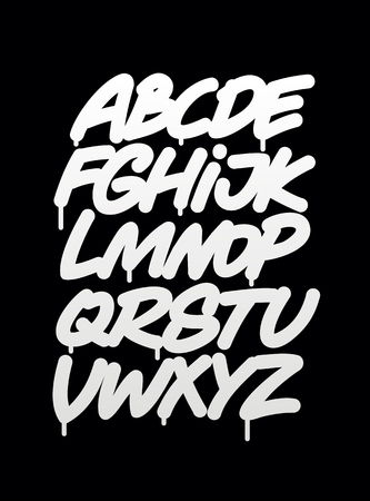 Illustration pour Hand written graffiti font alphabet. Vector - image libre de droit