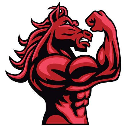 Illustration pour Red Horse Bodybuilder Posing His Muscular Body - image libre de droit