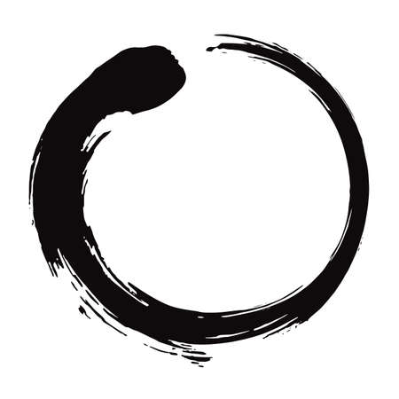 Ilustración de Zen Circle Brush Black Ink Vector Illustration. - Imagen libre de derechos