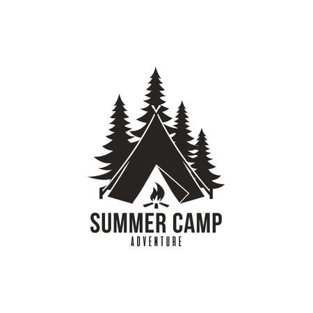 Illustration pour Forest Adventure, Summer Camp Black And White Badge Vector Logo Template - image libre de droit