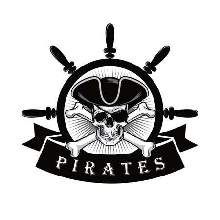 Illustration pour Pirate Skull With Eyepatch And Ship Helm Logo Design Vector Illustration - image libre de droit