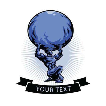 Illustration for Gym Logo Template. Atlas Titan Holding Globe. Vector Illustration - Royalty Free Image