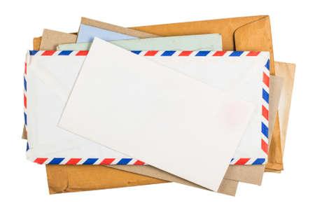 Foto de Old envelopes isolated on white background - Imagen libre de derechos