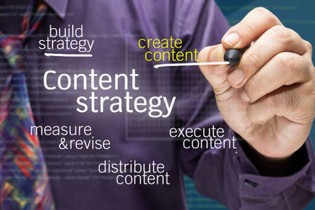 Photo for Businessman writing Content strategy concept on screen - Royalty Free Image