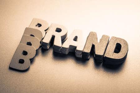 Photo pour Stack wood letters as Brand word - image libre de droit