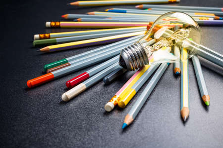 Photo for Light bulb with many pencils - Royalty Free Image
