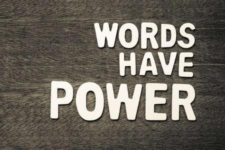 Photo pour Words Have Power text arranged by wood letters - image libre de droit