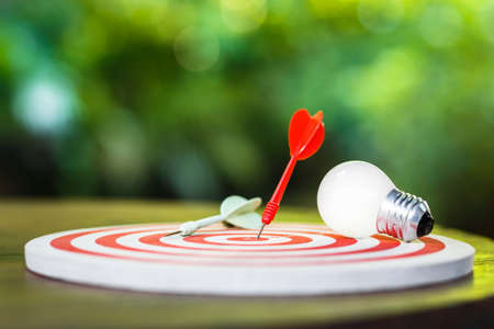 Photo pour Red dart hit on the dartboard with white light bulb on the table, smart goal setting - image libre de droit