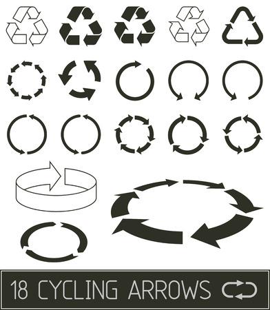 Ilustración de cycling arrrows flat clean black solution - Imagen libre de derechos