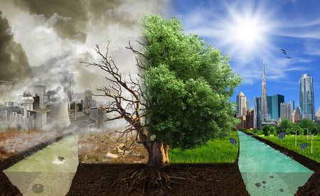 Foto de Two options   sides , eco concept, eco digital art  - Imagen libre de derechos