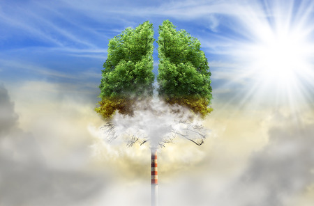 Photo pour Tree in a shape of lungs with chimney instead of trunk, eco concept, pollution - image libre de droit