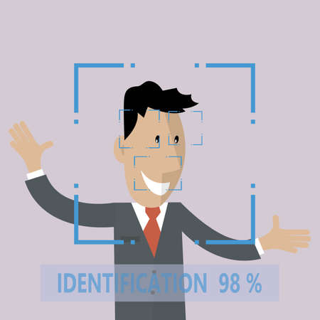 Illustration pour Biometric Facial Identification Vector. Mobile App For Face Recognition. High-tech Technology Illustration - image libre de droit