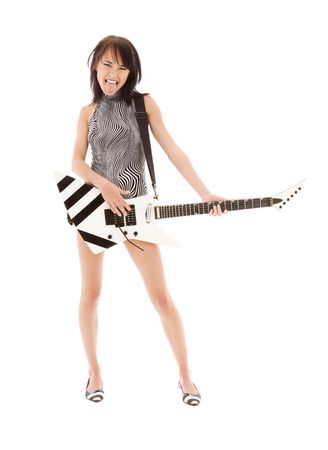 Photo for picture of girl with electric guitar over white - Royalty Free Image