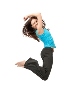 Photo pour bright picture of happy jumping sporty girl - image libre de droit