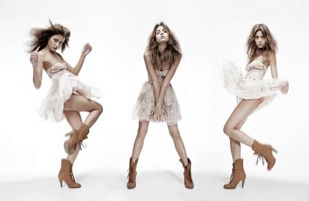 Foto de triple image of the same fashion model in different poses - Imagen libre de derechos