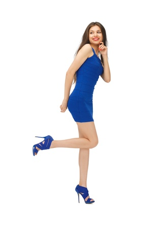 picture of lovely woman in blue dress