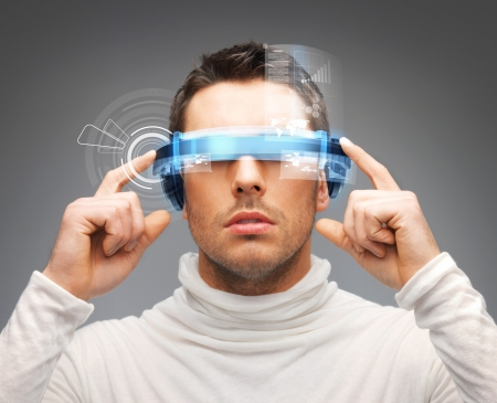 Foto de picture of handsome businessman with digital glasses - Imagen libre de derechos