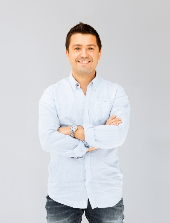Photo for portrait of handsome smiling man in casual shirt - Royalty Free Image