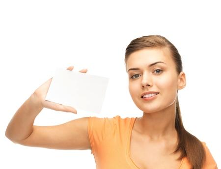 Photo pour picture of smiling woman holding white blank card - image libre de droit