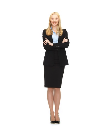 Photo pour bright picture of friendly young smiling businesswoman - image libre de droit