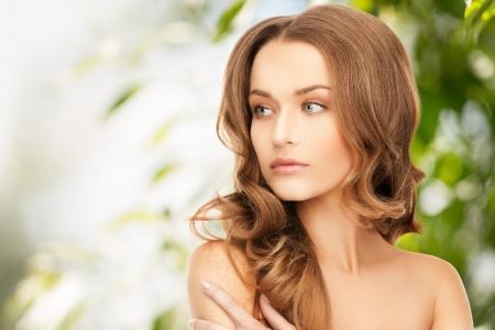 Foto de beauty, hair and eco cosmetology - beautiful woman with long hair - Imagen libre de derechos