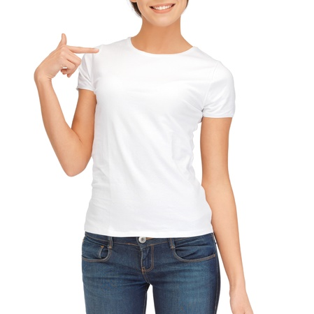 Photo for t-shirt design concept - woman in blank white t-shirt - Royalty Free Image