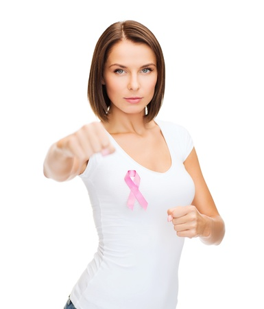 Photo pour healthcare, medicine and breast cancer concept - woman with pink cancer ribbon - image libre de droit