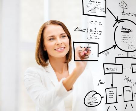Foto de business, finances, economics and technology - businesswoman drawing plan on the virtual screen - Imagen libre de derechos